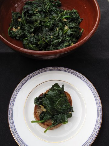 spinach in adobo, espinacas adobadas