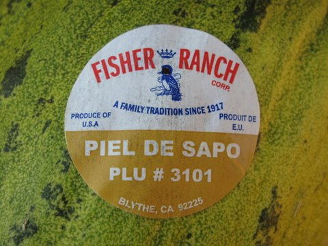 label of an American grown piel de sapo melon