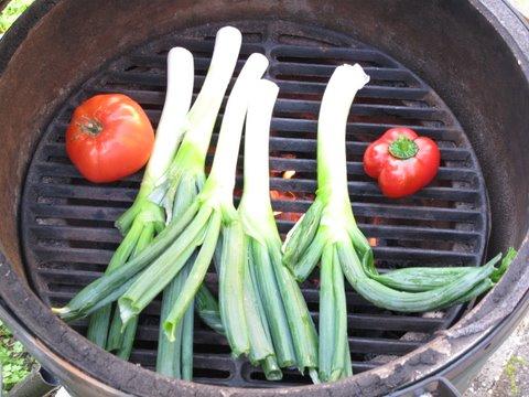 Calçots, cebolletas a la barbacoa, grilled green onions