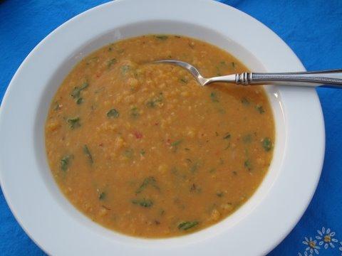 A Spanish Split pea soup, sopa de guisantes amarillos