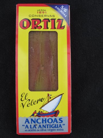 "a mini packet of ortiz anchoas ""a la antigua,"" anchovies prepared the old fashioned way"